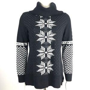 Talbots Fair Isle Black Turtleneck Sweater S